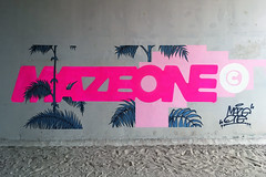 Maui (-Mazymaze-) Tags: graffiti mazeone mazer mazymaze palms futurism minimalism typography sticker palm trees beach fluorescent paint mtn94 glitch pattern leaves rosa rose pink neotokyo vaporwave