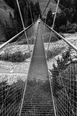 Suspendu (fafisavoie) Tags: pont bridge rivière monochrome river blackandwhite blancetnoir bw nb perspective landscape paysage montagne mountain