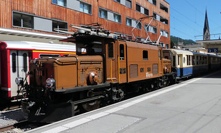 Rhätische Bahn, Switzerland - Baby Crocodile locomotive No. 414 departs from Davos Platz Station with the Rhätia Pullman Express from Landquart to St. Moritz on the 6th July 2017