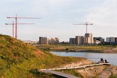 Urban relax (Seestadt, Wien) (takatsnori) Tags: lake sunbathing wien vienna kran crane