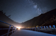 Oncoming Traffic (Night Scapes) Tags: steverengers milkyway kernriver bridge nightsky nightphotography