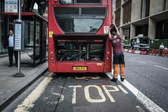 bus full stop (jrockar) Tags: london bus redbus stop mechanic candid moment instant street streetphoto streetphotography documentary busdoctor westfromeast ordinarymadness ordinary madness jrockar janrockar idiot x100f fujix holyf public transport tfl