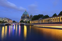 Berliner Dom with Light Tracks of Ships (jerryjcwu) Tags: d600 nikkor afsnikkor28mmf18g germany europe berlin reflection cityscape summer water river