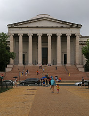 Portico, National Gallery of Art — Washington, D.C. (Pythaglio) Tags: national gallery art building structure edifice historic museum washington dc districtofcolumbia 1937 1941 johnrussellpope neoclassical classical revival greek stone temple pediment portico columns ionic capitals volutes entablature dome doors entrances entries steps cars sidewalk trees overcast clouds