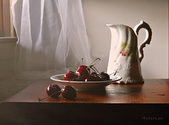 Still Life with Cherries ... (MargoLuc) Tags: cherries sweet summer red fruits natural window light white pottery vintage jug stilllife table wooden droplets flickrdiamond