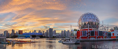 Science World and BC Place Stadium at Sunset, Panorama (Rick Deacon) Tags: bc canada creek orange panorama british colorful colourful columbia downtown dramatic dusk false place red science stadium sundown sunset telus vancouver world