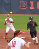 Start of the Double Play (RPahre) Tags: softball eichelbergerfield b1g bigten urbana illinois universityofwisconsin wisconsin universityofillinois firstbase doubleplay baserunner