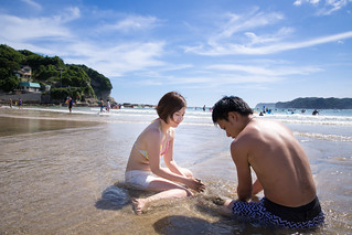 Happy young cople in beach