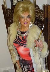 Fag ash Lill💋💋💋💋 (DeniseClapton) Tags: lave satin silk nylons fur mink queer transvestite tranny transvestism tgirl smoking drag dragqueen