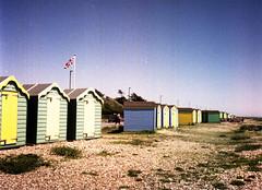 Patriotic Beach Huts (Antony J  Shepherd) Tags: beachhuts littlehampton olympuspenee2 penee2 ee2 halfframe