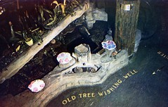 Old Tree Wishing Well Clifton's Brookdale Restaurant Los Angeles CA (Edge and corner wear) Tags: vintage postcard pc restaurant cliftons los angeles ca california charity cafeteria wishing well brookdale