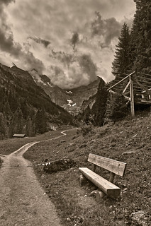 The Lonely Bench near Gimmelwald , ( Murren, Canton of Berne Switzerland ). No. 624.