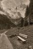 The Lonely Bench near Gimmelwald , ( Murren, Canton of Berne Switzerland ). No. 624. (Izakigur) Tags: swiss switzerland myswitzerland lasuisse laventuresuisse dieschweiz d700 nikond700 nikkor2470f28 thelonelybench alps alpen alpes suiza suizo suisia suïssa summer 2017 murren blackwhite izakigur berneroberland bern berne berna ch cantonofbern kantonbern topf25 100faves 500faves