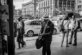 Gentleman in an old time street scene. México City downtown.