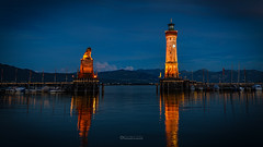 Lighthouse Lindau (lichtbild_total) Tags: sky city sea sunset water reflection travel blue night light clouds lighthouse tower architecture summer building beautiful evening dawn outdoors dusk bodensee leuchtturm lindau no person deutschland germany