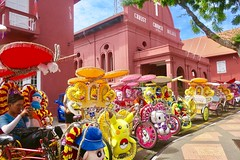 """The best tuck tucks I have ever seen are in Malacca/Melaka. So colorful and playing music all the time while touring. Love it 🌈  Malaysia  July 2017 #itravelanddance • <a style=""""font-size:0.8em;"""" href=""""http://www.flickr.com/photos/147943715@N05/35201985783/"""" target=""""_blank"""">View on Flickr</a>"""