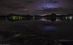 storm approaching (andrew.walker28) Tags: moogerah dam queensland australia thunderstorm storm rain lightning water night shadows long exposure stars starlight reflections