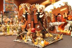 First time exhibiting (Yobb Rschp) Tags: lego expo exhibition brickforge brickwarriors brick dino dinosaure medieval moc lotr troll centaur faun altbricks