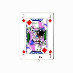 jack of diamonds (brescia, italy) (bloodybee) Tags: playingcards cards play game j jack diamonds stilllife square bullet hole blood shoot drops humor fun
