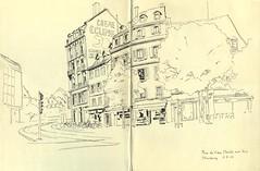 Place du Vieux Marché aux Vins - Strasbourg (lolo wagner) Tags: sketch croquis usk urbansketchers alsace strasbourg