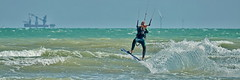 Kitesurfer - Lancing Beach (Gary-West Sussex) Tags: kitesurfer sea surf waves beach splash windfarm wind grampion spray seaspray