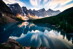 A long look at the lake (Jim Nix / Nomadic Pursuits) Tags: morainelake banffnationalpark longexposure sonya7ii sony 1635mm vufilters 10stop jimnix nomadicpursuits travel canada alberta landscape mountains lake sunset goldenhour lakelouise beautiful clouds reflection reflections alpine valleyofthetenpeaks