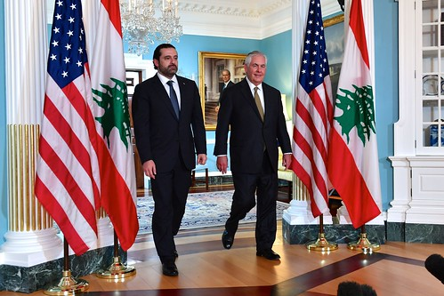 Secretary Tillerson and Lebanese Prime Minister Hariri Prepare to Address Reporters Before Their Meetin