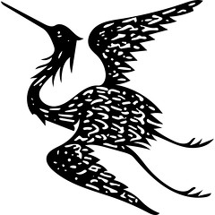 Strange Vector Bird (sjrankin) Tags: 28july2017 edited library britishlibrary vector vectorized grayscale bird flying illustration book historic