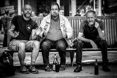 Friends for one day (AlphaAndi) Tags: mono monochrome urban city trier tiefenschärfe leute people personen portrait streets strase strasenlebn streetlife streetportraits dof sony zeiss menschenbilder menschen vollformat fullframe