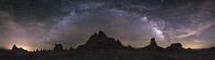 Partly Cloudy Milky Way Panorama at the Trona Pinnacles (slworking2) Tags: california unitedstates us geology desert trona ridgecrest pinnacles milkyway night nighttime sky clouds tronapinnacles
