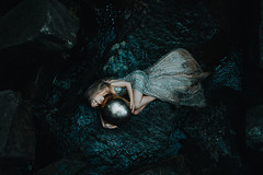 Daughter of the sea (Adam Bird Photography) Tags: adambirdphotography adambird mermaid sequin dress blue cold water conceptual surreal pearl fineart dark portrait fashion fairy fairytale story narrative landscape rocks flickr explore view