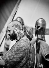 Game of Thrones (Dan Haug) Tags: osgoodemedievalfestival gameofthrones reenactment tattoo chainmaille armor blackandwhite noiretblanc raven bird candid xt2 xf50140mm xf50140mmf28rlmoiswr