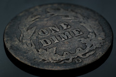 Well Worn Barber Dime (1912) (Tovar Photography) Tags: d3200 nikon nikkor 50mm 50 mm 2 f2 macro micro magnify magnification us usa currency change bill dollar coin dime extension tube tubes kenko money barber worn antique old silver