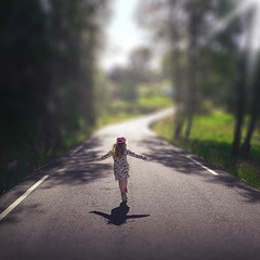 batgirl ❤️ (D.Sinkute) Tags: bat girl summer road phonecamera huawei faded background blur run light