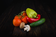 Fresh Vegetables on the Wooden Background (Búzás Botond Photography) Tags: agriculture assortment autumn background cabbage carrot cherry collection composition cooking corn cucumber diet food fresh freshness garden garlic green groceries group health healthy herb ingredient kitchen lettuce life natural onion orange organic pepper raw red ripe salad salt sweet table tomato tomatoes vegetable vegetables vegetarian vitamin water wood wooden