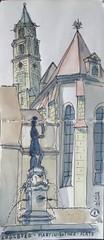 2017-07-18 Martin-Luther-Platz (Claudia H.-Brem) Tags: urban sketching