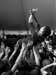 High Flyer (peterkelly) Tags: bw digital guelph ontario canada northamerica guelphlakeconservationarea hillsidefestival 2017 hillside music concert festival crowd audience crowdsurfer crowdsurfing arms hands duchesssays tent