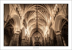 Exeter cathedral (G. Postlethwaite esq.) Tags: devon exetercathedral sonya7mkii sonyalphadslr arches fullframe mirrorless organ photoborder pillars ribs windows