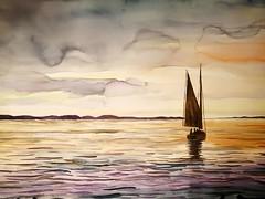 Waiting for Brittany - Aspettando la Bretagna (Tommaso Manzi Watercolour) Tags: watercolor painting tommaso manzi tommasomanzi seascape