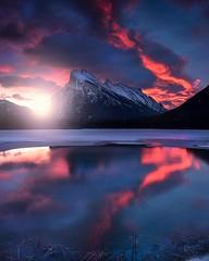 Vermillion (Jay Daley) Tags: nikon clouds mountains colour reflections vermillion canada alberta banff sunrise