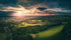 Shadow Play (HatCat Photography) Tags: field sky landscape sunset nature travel tree summer grass countryside mountain dawn cloud agriculture hill panoramic outdoors horizontal dusk mavic no person mavicpro