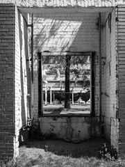 P7030630 (mkreibohm) Tags: architecture monochrome blackandwhite abandoned ruins building decay urban structure duisburg germany concrete walls texture trees window bricks frame
