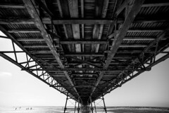 2017_205 (Chilanga Cement) Tags: nikon nik nikondf bw blackandwhite southport wood pier southportpier monochrome 14mm wide wideangle steel shore seaside sea water summer perspective sand sky cloud clauds lines pools