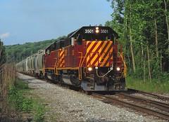 SWP 3501 and 3503 (2) (Trains & Trails) Tags: swp 3501 3503 emd sd402 shortline southwestpennsylvaniarailroad bowestjunction dunbar pennsylvania standardcab train railroad engine locomotive diesel transportation