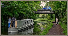 Three Modes of Transport. (ro-co) Tags: fz200 panasonic canals bridgewatercanal lymm borders barges boats cars pedestrian water waterways