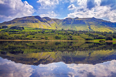 Glencar Lake. (padraig thornton) Tags: glencar lake mountains colorful blue green sky clouds water nature natural light landscape reflection canon 7d outdoor padraig thornton manorhamilton coleitrim ireland countryside padraigjosephthorntongmailcom greatphotographers
