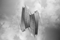 Multicity. Warsaw. (Marcin Kubiak) Tags: 35mm analog abstract architecture believeinfilm bw blackwhite cityscape city concrete clouds doubleexposure dream filmphotography grain lomo lca lomography multiexposure mirror nofilter opposite outdoor poland reflections surreal sky symmetry tower urban upsidedown warsaw