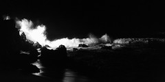 Night Waves (Mabry Campbell) Tags: 2014 fourseasons mabrycampbell march mexico nayarit puntamita rivieranayarit blackandwhite coast coastal fineartphotography image monochrome night photo photograph photography tropics waves f10 april 2016 april222016 20160422campbellb0001287 24mm ¹⁄₆₄₀sec 1600 hcd24