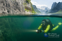 Austria (Michael_T.) Tags: austria over under halb diving scuba underwaterphotography underwatermodel bergsee slowenia