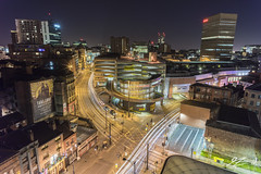 Slick City (Tim van Zundert) Tags: manchester greatermanchester northwestengland city cityscape skyline arndale light trails long exposure night car park roads intersection sony a7r voigtlander 21mm ultron